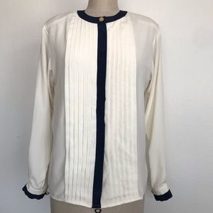 Vintage 6 pleated long sleeve Blouse